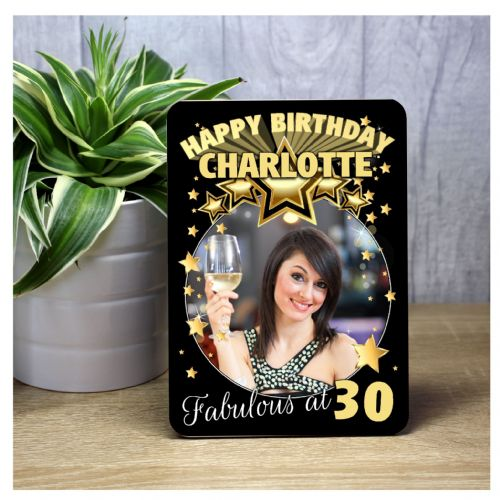 Personalised Black & Gold Stars Happy Birthday Wood Photo Frame F58 - Any Age